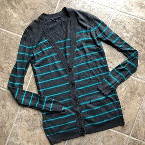 Theory Cashcotton Gray Blue Stripped Cardigan